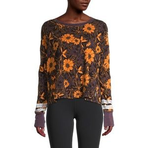 NWT Free People Movement Floral Crop Long Sleeve